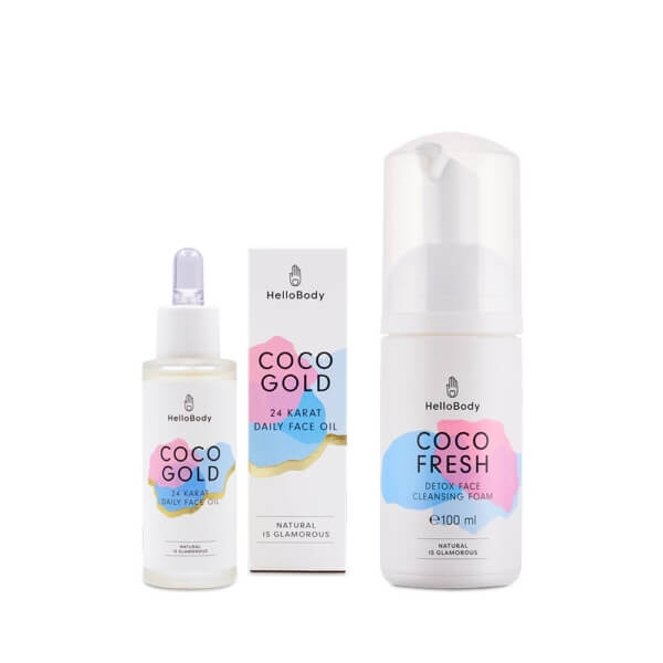 dropper flasks of coco gold and pump dispenser of coco fresh