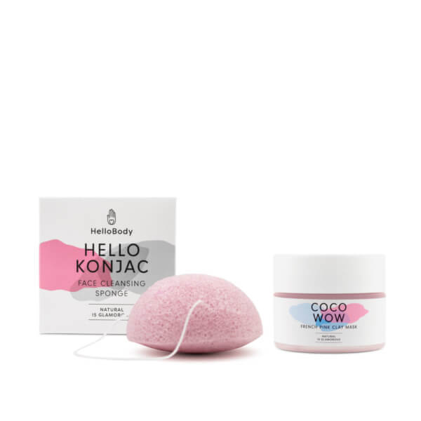 pink konjac sponge and jar of coco wow french pink clay mask