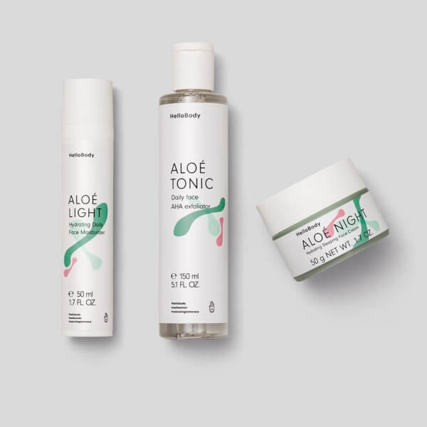 ALOE Face Trio set containing ALOE LIGHT, ALOE TONIC and ALOE NIGHT