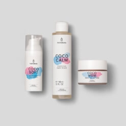 Pink Night Routine set consisting of COCO SOFT, COCO CALM and COCO WOW
