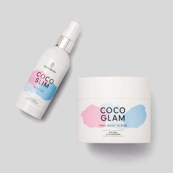 Pink Scrub'n'Oil consisting of COCO SLIM and COCO GLAM