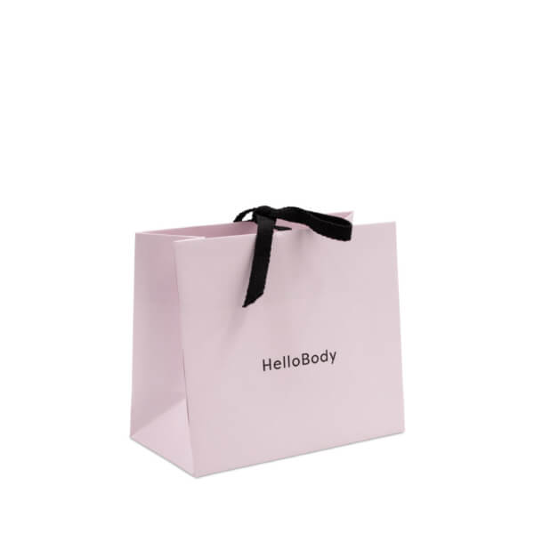 Front of the small Hello Body gift bag